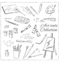 Hand drawn art tools set Isolated vector