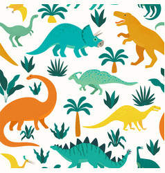 hand drawn seamless pattern with dinosaurs and vector image