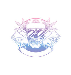 hand drawn sketch hippie skull vector image