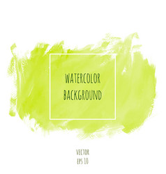 Hand drawn watercolor light green lime color vector