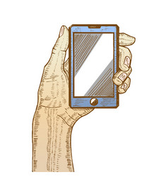 Hand holding cellphone vector