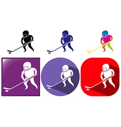Hockey icon in three designs vector image