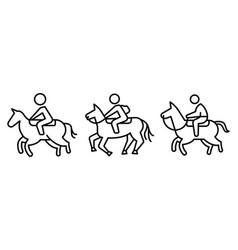 Horseback riding icons set outline style vector
