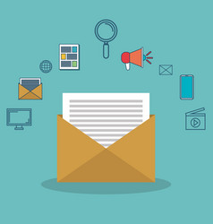 icon email message social network with icons media vector image