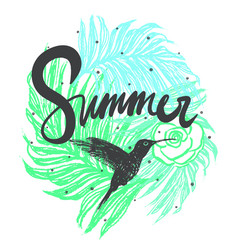 Ink hand drawn summer with hummingbird vector