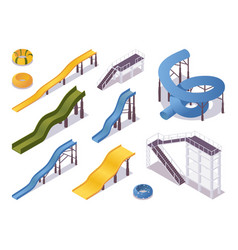Isometric set water slides and tubes aquapark vector