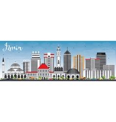 Izmir skyline with gray buildings and blue sky vector