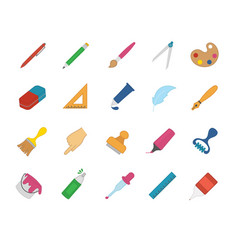 large set drawing and art icons vector image