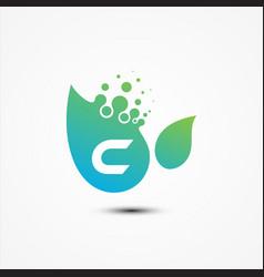 leaf design with c letter symbol design minimalist vector image
