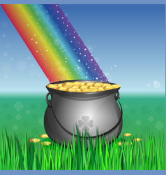 leprechaun pot of gold at the base of the rainbow vector image