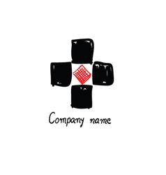 logo black and red for company name vector image