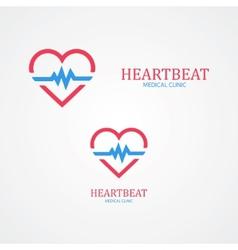 Logo combination a heart and pulse vector