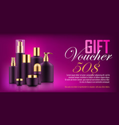 Luxury cosmetic bottle voucher vector