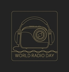 Mono line logo World Radio Day vector image
