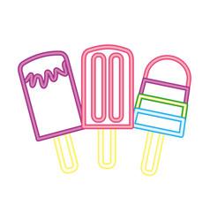 Neon glow three ice cream popsicle vector