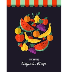 Organic food shop design with fruit vector image