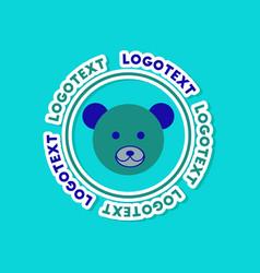 paper sticker on stylish background bear logo vector image