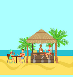 People sitting in a tropical beach cafe drinking vector