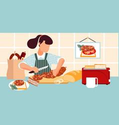 Preparing sausage sandwich composition vector