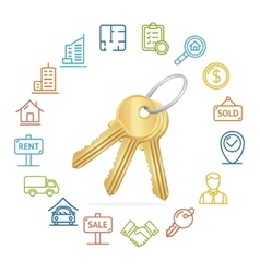 Real estate concept and outline icon set vector