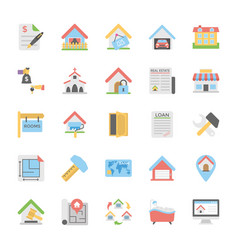 Real estate flat icons pack vector