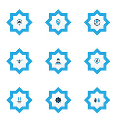 religion icons colored set with believer room vector image