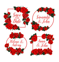 rose flowers frames for save the date vector image