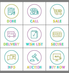 safe transaction purchase and delivery icon set vector image