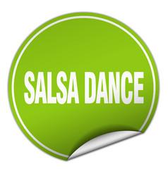 Salsa dance round green sticker isolated on white vector