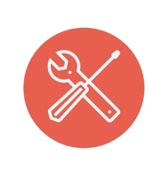 Screw driver and wrench tools thin line icon vector