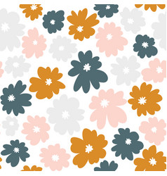 Seamless floral pattern in doodle style vector