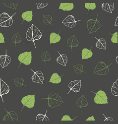 seamless pattern green leaves on a dark vector image