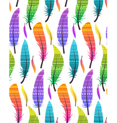 seamless pattern with colorful different feathers vector image