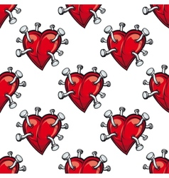 Seamless pattern with hearts and hammered nails vector image