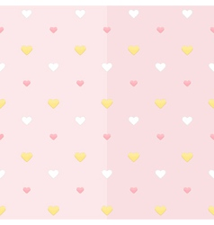 seamless pattern with white yellow and pink hearts vector image