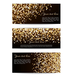 Set banners with confetti stars vector