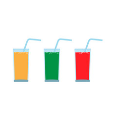 Set glass with juice and straw carbonated vector