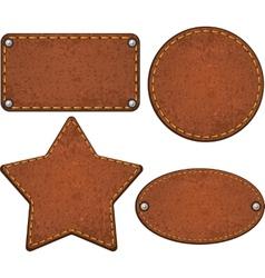 Set leather labels vector