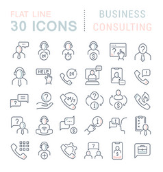 set line icons business consulting vector image