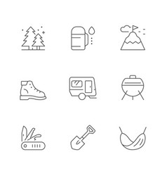 Set line icons camping vector