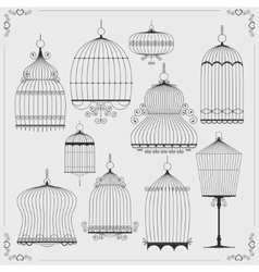 set silhouettes birdcages vector image