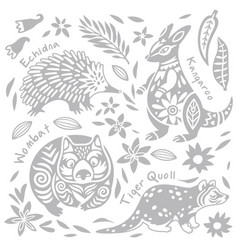 Set with decorated australian animals in vector