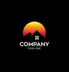 simple mountain house logo vector image