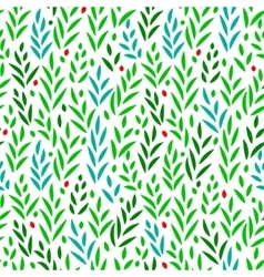 Subtle green leaves floral seamless pattern vector