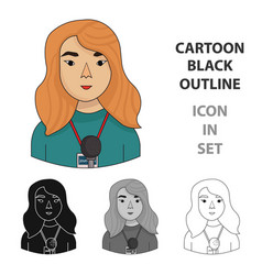 television reporter icon in cartoon style isolated vector image