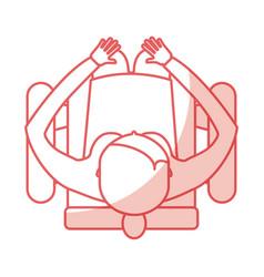Top view women sitting cartoon vector