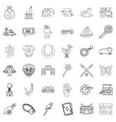 Toy icons set outline style vector