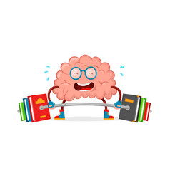 train your brain brain cartoon flat vector image