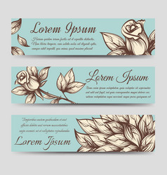 Vintage banners with roses and leaves vector