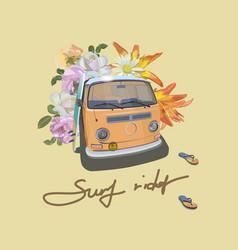 vintage van surfer style bus surf rider slogan vector image